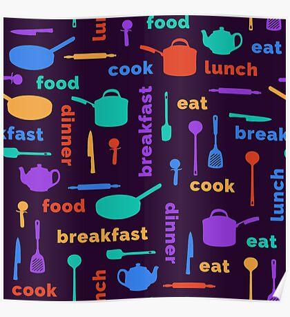 Kitchen Fun Pattern Poster