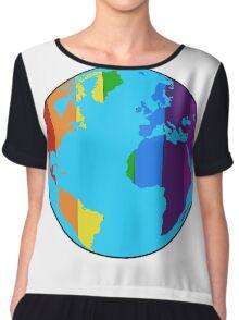 Rainbow Earth-Pride Flag Chiffon Top