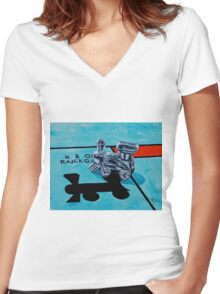 B and O Railroad Women's Fitted V-Neck T-Shirt
