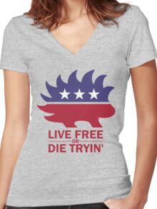 Libertarian - Live Free or Die Tryin Women's Fitted V-Neck T-Shirt