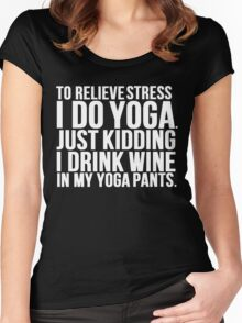Wine Stress Yoga Pants Women's Fitted Scoop T-Shirt