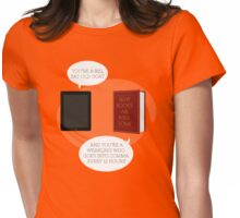 Book-tablet debate Womens Fitted T-Shirt