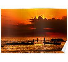 Fishing around sunset - Pantokratoras, Preveza Poster