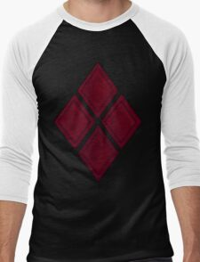 Red Diamond Patches with Inside stitching Men's Baseball ¾ T-Shirt