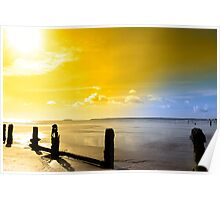 golden sunshine over the Irish coast Poster