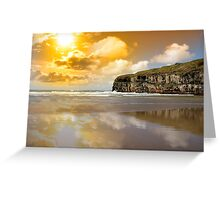 Ballybunion beach and cliffs wth Atlantic sunset Greeting Card