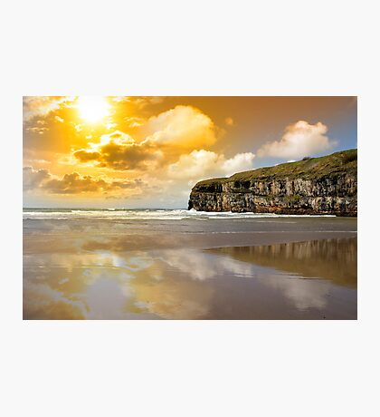Ballybunion beach and cliffs wth Atlantic sunset Photographic Print
