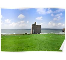 beautiful view of Ballybunion castle and green Poster