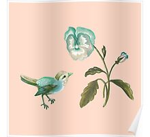 Songbird & Pansy on Peach Poster