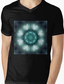 Green Floral Mandala - Abstract Fractal Artwork Mens V-Neck T-Shirt
