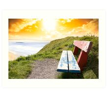 view of beach and Atlantic Ocean in Ballybunion with bench Art Print