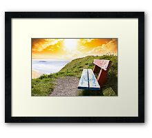 view of beach and Atlantic Ocean in Ballybunion with bench Framed Print