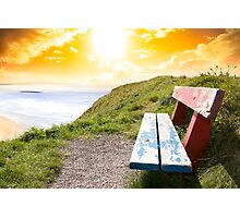 view of beach and Atlantic Ocean in Ballybunion with bench Photographic Print