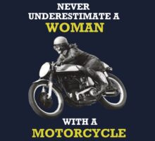 NEVER UNDERESTIMATE A WOMAN WITH A MOTORCYCLE VINTAGE ART One Piece - Short Sleeve