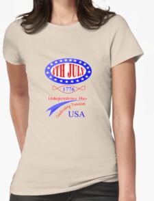 American Independence 4th July Celebration Graphic Womens Fitted T-Shirt