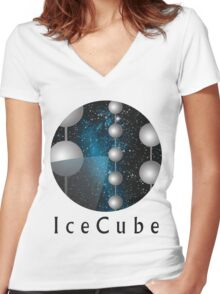 IceCube Neutrino Observatory Logo Women's Fitted V-Neck T-Shirt