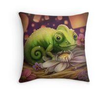 Lizard Under the Lights Throw Pillow