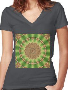 Green Floral Mandala - Abstract Fractal Artwork Women's Fitted V-Neck T-Shirt