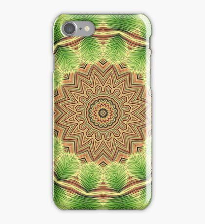 Green Floral Mandala - Abstract Fractal Artwork iPhone Case/Skin