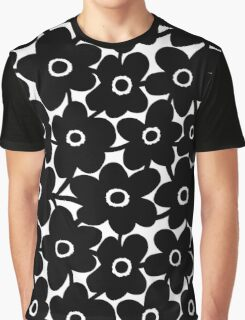Bold Flowers - Black and White Graphic T-Shirt