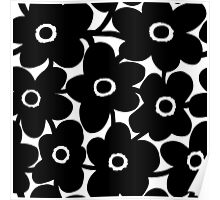 Bold Flowers - Black and White Poster