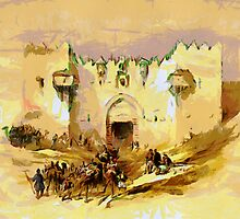 A digital painting of the Gate of Damascus Jerusalem  by David Roberts 1839 by Dennis Melling