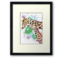 Mom and her Kid Giraffe Framed Print