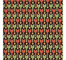 Egyptian Red Green Arrow Tribal Pattern Photographic Print