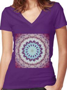 Mandala of Peace - Abstract Fractal Artwork Women's Fitted V-Neck T-Shirt