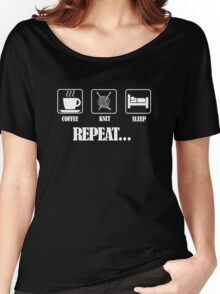 Coffee Knit Repeat Dark Women's Relaxed Fit T-Shirt