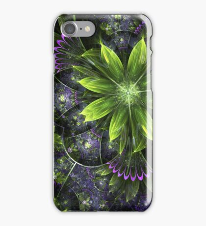 Green Floral Pattern - Abstract Fractal Artwork iPhone Case/Skin
