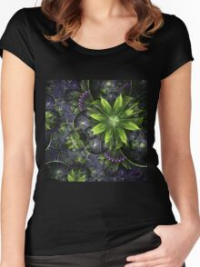 Green Floral Pattern - Abstract Fractal Artwork Women's Fitted Scoop T-Shirt