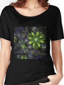 Green Floral Pattern - Abstract Fractal Artwork Women's Relaxed Fit T-Shirt