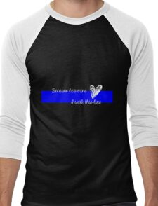 LEO Wife Thin Blue Line - Because he's mine I walk this line Men's Baseball ¾ T-Shirt