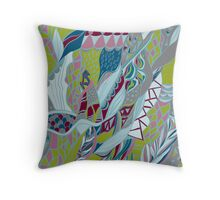 Hand drawn artwork with lines. Bright colors  Throw Pillow
