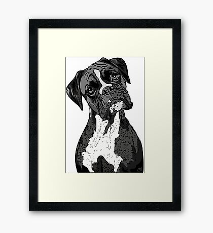 Black and White Boxer Art Framed Print