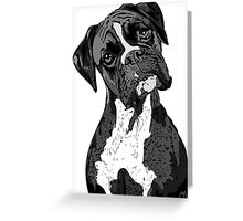 Black and White Boxer Art Greeting Card