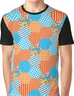 Sky Blue and Orange Floral Faux Patchwork Hexagons Pattern Graphic T-Shirt