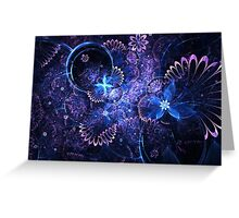 Blue Floral Pattern - Abstract Fractal Artwork Greeting Card