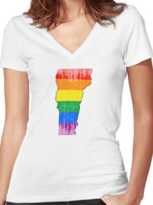 Vermont Pride Women's Fitted V-Neck T-Shirt