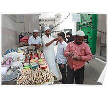 Vendor at Main Entrance Mecca Masjid  Mosque Poster