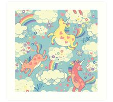 Fancy Rainbow Unicorns Art Print