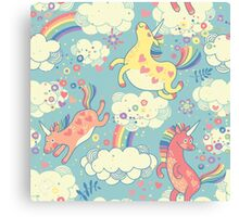 Fancy Rainbow Unicorns Canvas Print