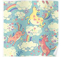 Fancy Rainbow Unicorns Poster