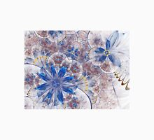Blue Floral Pattern - Abstract Fractal Artwork Womens Fitted T-Shirt