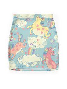 Fancy Rainbow Unicorns Mini Skirt