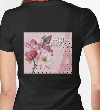Sophisticated Parisian Pink Magnolias black polka dots, Eiffel Tower France Womens Fitted T-Shirt