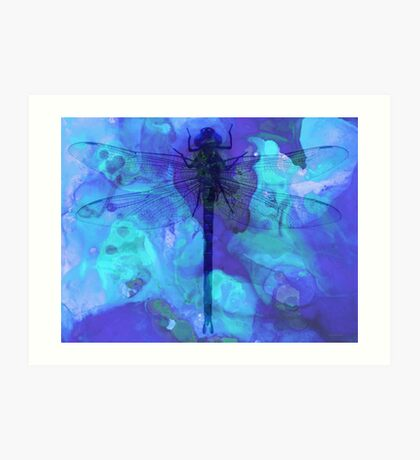 Blue Dragonfly by Sharon Cummings Art Print