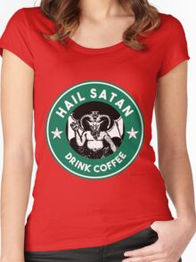 Hail Satan... Drink Coffee! Red Coffee Cup Design with the Devil Women's Fitted Scoop T-Shirt