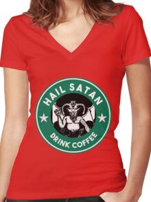 Hail Satan... Drink Coffee! Red Coffee Cup Design with the Devil Women's Fitted V-Neck T-Shirt